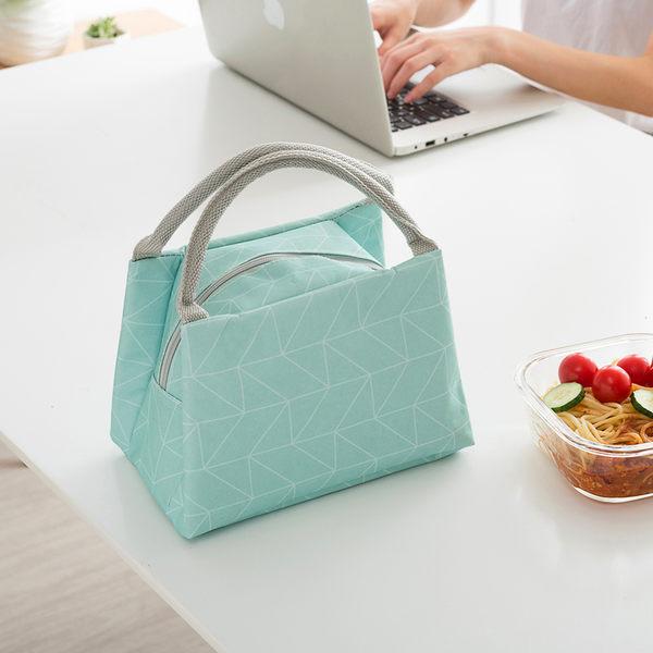 【典雅保溫包】防水保溫袋 隔熱幾何飯盒袋 加厚手提式便當包 鋁箔保冰袋