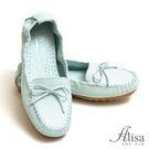 專櫃女鞋 縫線蝶結豆豆底懶人鞋-艾莉莎Alisa【8803】淺藍色下單區