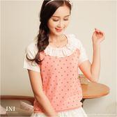 【INI FASHION】雙色配色蕾絲拼接領口針織上衣.三色
