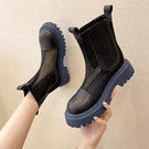 煙筒靴藍底馬丁靴女夏季薄款透氣網紗鏤空涼靴2021厚底切爾西短靴一米陽光