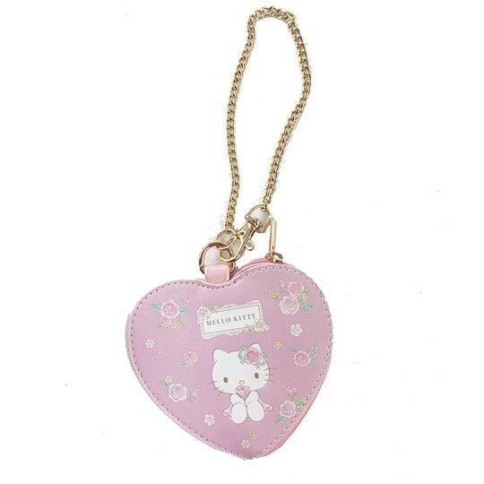 小禮堂 Hello Kitty 愛心造型皮質零錢包 吊飾零錢包 小物收納包 (粉 玫瑰) 4901610-05465