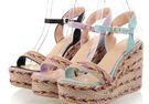 森林女孩亞麻草編鞋後絆帶坡跟女涼鞋紫/藍/黑32-43預購【no-44591359950】