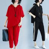 中大尺碼 女裝 2019新款夏季套裝 mm休閒寬鬆運動休閒上衣七分褲兩件套