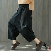 復古棉麻九分闊腿褲寬鬆休閒顯瘦大尺碼垮褲女 週年慶降價