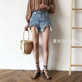 短褲 PETIT AMIE牛仔短褲女夏季新款韓版chic寬松顯瘦闊腿高腰熱褲·夏茉生活