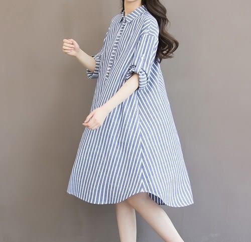 EASON SHOP(GU5207)中長款豎條紋棉麻圓領短袖長版長款襯衫裙收腰洋裝女上衣服春夏裝韓版寬鬆孕婦