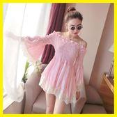 日系甜美洋裝洛麗塔可愛公主露肩喇叭袖點點娃娃上衣短裙子高腰夏 東京衣櫃