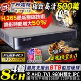 【士林電機】500萬 8路 監控主機 H.265 DVR 8CH 監視器主機 AHD/TVI 1080P 720P 台灣安防