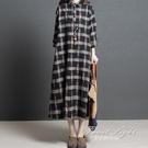 棉麻洋裝韓版寬鬆大碼格子顯瘦長袖亞麻襯衫中長裙 果果精品