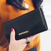 長夾 女士錢包女長款新品新款日韓個性簡約磨砂拼接折疊錢夾