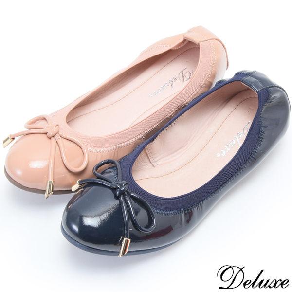 【Deluxe】全真皮可愛俏皮蝴蝶結娃娃鞋(藍☆粉)