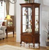 美式實木紅酒櫃單門玻璃展示櫃 歐式酒櫃家用客廳裝飾櫃餐邊櫃QM『艾麗花園』
