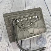 BRAND楓月 BALENCIAGA 巴黎世家 640107 淺灰色 壓紋 機車 三折 短夾 錢包 小皮夾