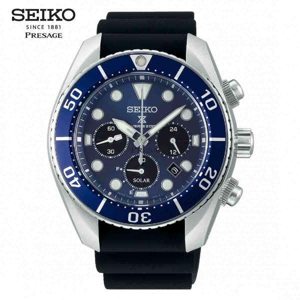 SEIKO 精工 Prospex 太陽能男錶 44.5mm 三眼計時綠潛水錶 SSC759J1 V192-0AD0B