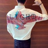 【免運】夏裝后背老鷹印花男模服裝夜場帥氣短袖寬鬆套頭收腰男士中袖襯衫