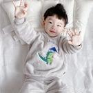居家服睡衣男童睡衣法蘭絨秋冬季卡通恐龍加厚款珊瑚絨家居服兒童小 快速出貨