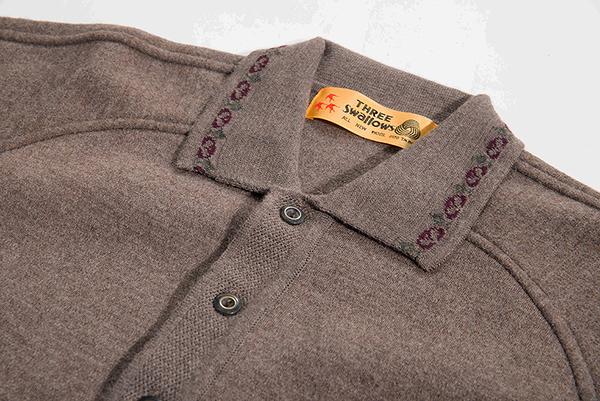 男士 針織毛衣 翻領毛衣 純羊毛衣 三燕牌羊毛上衣 美麗諾羊毛 100%純羊毛 7996-3 可可色  翻領毛衣