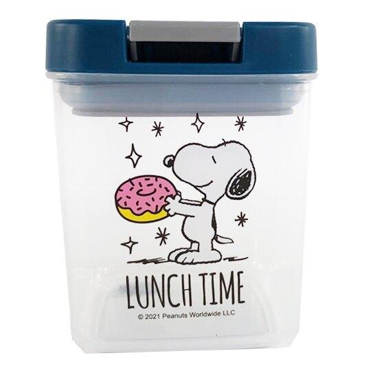 小禮堂 史努比 方形透明密封罐 食物分裝罐 保鮮罐 餅乾罐 350ml (藍 甜甜圈) 4712977-46755