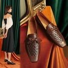 手工真皮女鞋34~40 2020新款歐美優雅牛皮蝴蝶結編織方頭低跟鞋~2色