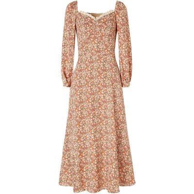 洋裝~碎花連身裙女年裝早法式復古溫柔氣質過膝方領長裙子2F054-D胖妞衣櫥