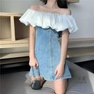 【限時促銷】一字領洋裝 大碼性格一字領露肩顯瘦拼接牛仔洋裝女收腰A裙