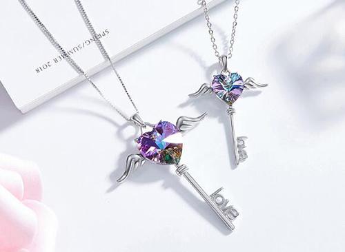 【A&Angel New York】天使之愛自由飛翔鑰匙LOVE水晶項鍊