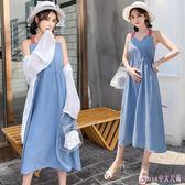 大碼洋裝 孕婦連身裙時尚吊帶裙中長款夏季韓版寬鬆孕婦裙大碼 DR16445【Rose中大尺碼】