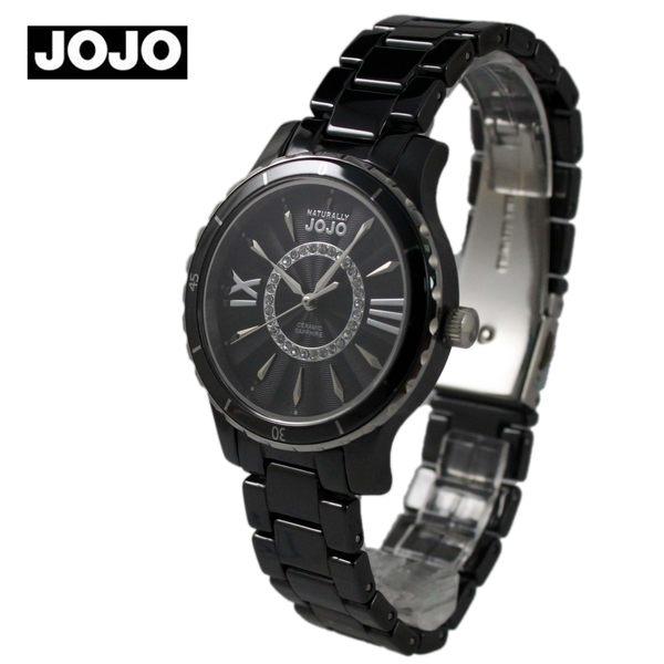 【萬年鐘錶】JOJO 陶瓷鑽錶 都會潮流陶瓷晶鑽腕錶  黑x銀x黑 JO96751-88F