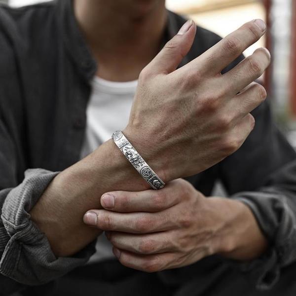 心經手鐲 999足銀招財進寶貔貅心經手鐲男潮個性復古轉運開口手環銀飾鐲子 米家