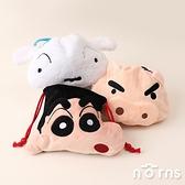 日貨蠟筆小新絨毛束口袋- Norns Crayon Shinchan日本正版 小白 肥嘟嘟左衛門 收納袋 收納包