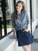 秋裝上市[H2O]顯瘦水洗牛仔褲裡短裙 - 藍/淺藍色 #8632006