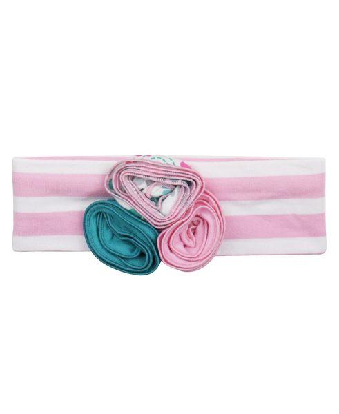 【美國 RuffleButts】髮帶- 粉紅條紋立體花卉髮帶 ACHPWOS-KW15