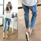 【GZ33】破洞牛仔褲 韓版寬鬆小腳褲 九分跨褲 淺色 牛仔褲