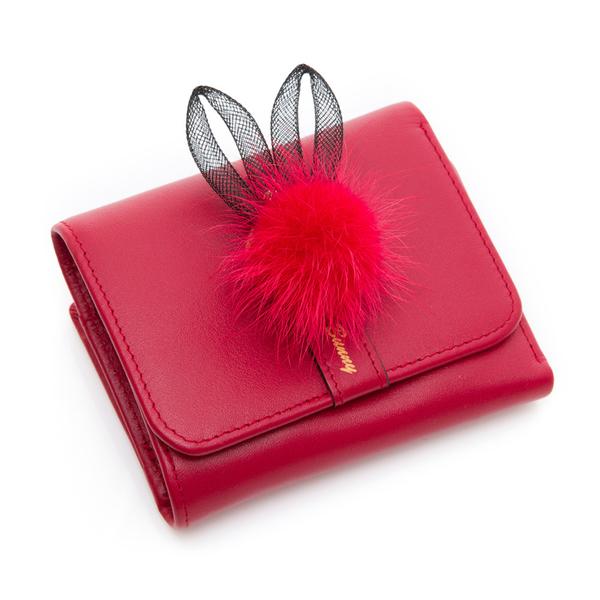 PLAYBOY- 短夾 跳躍毛毛兔系列-復古俏皮紅