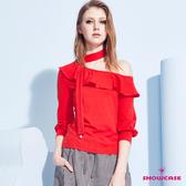 【SHOWCASE】荷葉斜肩領繞頸綁帶七分袖棉質上衣(紅色)