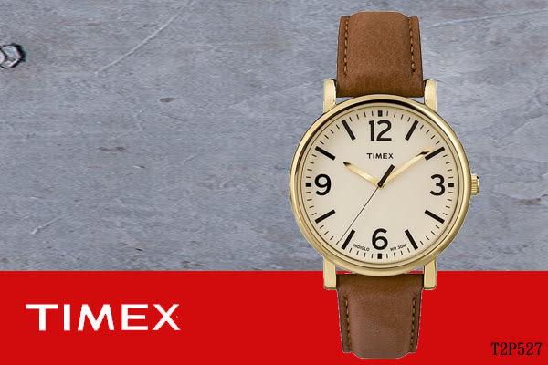 【時間道 】〔TIMEX。天美時〕復古年代簡約皮帶腕錶–米白面咖啡皮(T2P527/TXT2P527)免運費
