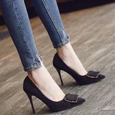 歐美秋季新款淺口絨面方扣細跟高跟鞋單鞋女鞋黑色百搭工作鞋