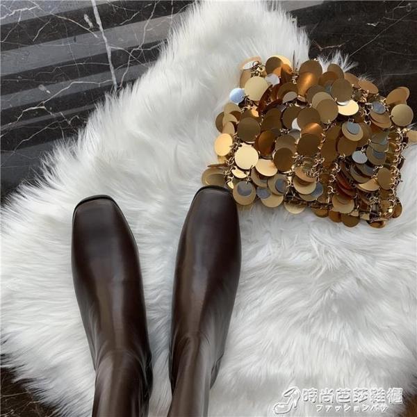 瘦瘦鞋網紅騎士靴子女秋款新款高筒長靴高跟長筒靴不過膝靴冬 時尚芭莎