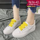 加大碼小白鞋-亮彩魔鬼氈鬆緊懶人休閒鞋(36-42碼)