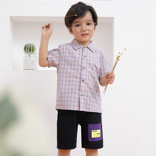 日系粉藍排釦襯衫 春夏童裝 男童襯衫 男童上衣 男童短袖