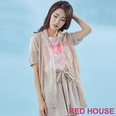 RED HOUSE-蕾赫斯-櫻花雪紡拼接針織罩衫(淺卡其)