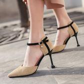 歐美早春新款職業上班單鞋包頭一字扣高跟涼鞋女細跟百搭女鞋【居享優品】