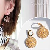 耳環《可改耳夾式》《可改S925銀針》復古宮廷風幾何水鑽鋯石耳針 (SRA0085) AngelNaNa
