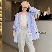 春秋2021新款韓版薄款寬鬆休閒時髦精格紋紫色西裝上衣西服外套女11 幸福第一站