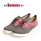 ORWARE-針織圖騰混搭布休閒鞋 /女款652057-35(灰紅)
