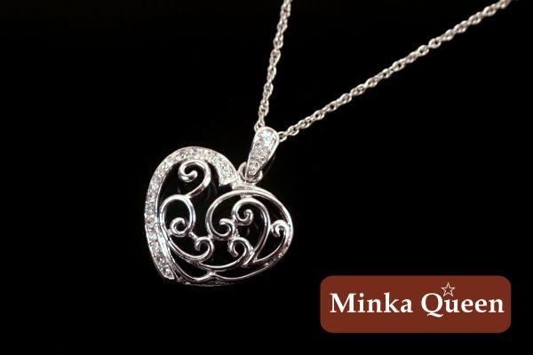Minka Queen 品牌 愛心造型八心八箭水鑽精緻白K百搭項鍊