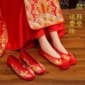 繡花鞋2020新款秀禾鞋新娘婚鞋女紅色上轎繡花鞋中式結婚秀禾服鞋子平底  貝芙莉