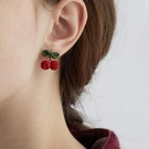 紅色櫻桃耳環女耳釘2021年新款潮網紅超仙氣耳飾夏季款耳夾無耳洞 伊蘿