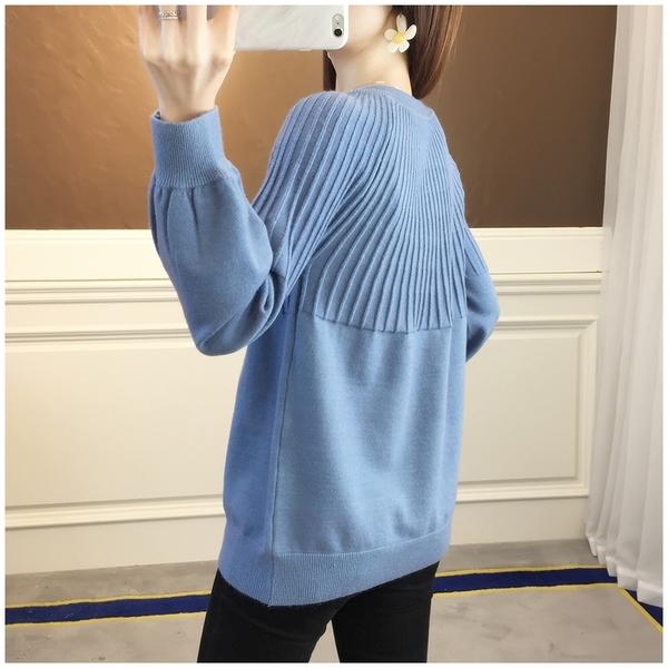 【現貨】梨卡-春裝新款純色圓領針織長袖毛衣-寬鬆短款針織保暖燈籠袖氣質簡約風打底衫DR133