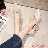 高跟鞋 尖頭高跟鞋女2021春季新款百搭氣質法式單鞋晚禮服細跟高跟鞋女鞋 小天使